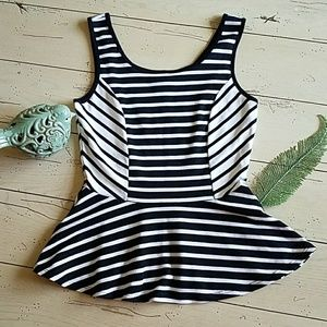 Striped🎹 Peplum Tank